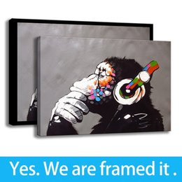 Art Canvas Prints Australia - Simple Modern Oil Painting Decoration Animal Canvas HD Print Wall Art Monkey Music - Ready To Hang - Framed