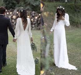 8f7670ea01814 Simple 2019 Bohemian Country Wedding Dresses V-Neck Backless Long Sleeve  Beach Plus Size Wedding Dress vestido de novia Cheap