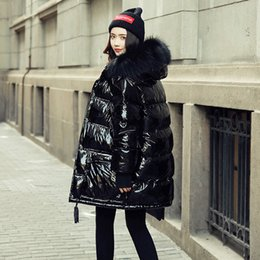 $enCountryForm.capitalKeyWord Australia - Winter Jacket Women Coat Duck Down Parka Large Real Raccoon Fur Collar Hooded Loose Glossy Patent Leather Snow Wear Waterproof SH190913