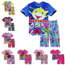 Cute Casual spring outfits online shopping - INS Baby Shark Summer Clothing Set Short Sleeve T shirt Tops Beach Shorts Homewear Cute Cartoon Animal Outfits Kids Boys Pajamas Suit