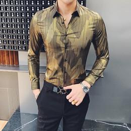 a0569a63f3c325 2019 Casual Men Shirt Gold Stripe Long Sleeve Shirts Korean Dress Slim Fit  Tuxedo Shirts Male Fashion Night Party Club Shirt Men