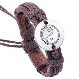 $enCountryForm.capitalKeyWord Australia - 12pcs lot Metal Yin Ying Yang Taiji   Bagua Charms Pendant Bracelet Leather Cord Bangle Jewelry