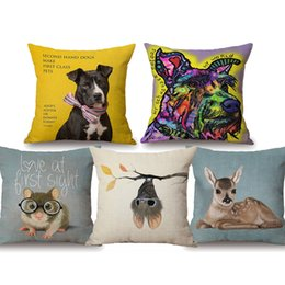 Deer Chair Australia - Dog Mouse Deer Owl Dachshund Flower Cushion Covers Watercolor Painting Beige Linen Pillow Covers 45X45cm Chair Sofa Decoration