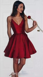 simple red cocktail prom gown dresses NZ - Sexy Red Spaghetti Short Homecoming Dresses With Deep V Neck 8th grade prom dresses Cocktail Party Gown Custom MAde