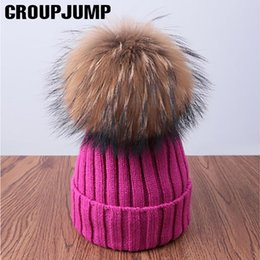 Fur Pom Hats Australia - Pompoms Fur Knitted Winter Hats For Women Pom Poms Skullies Beanies Thick Winter Hats Fluffy Ball Female Beanies Caps Warm Hat S18120302