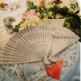 Wholesale fan hands online – design 50pcs Wood Hand Fan Tied with Tassel Pandent Bridal Shower Wedding Favors Anniversary Gifts Event Gifts Birthday Party Decors Baby Shower