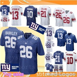34f7ef77b Men's 26 Saquon Barkley New York Giants Jersey Top 13 Odell Beckham Jr 10  Eli Manning 21 Landon Collins 15 Marshall Football Jerseys