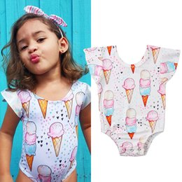 Swimwear Infant Australia - 2019 New Toddler Infant Kid Baby Bodysuits Girl Bathing Swimwear Ice Cream One Piece Suit Floral Bowkont Short Style 0-18M 40