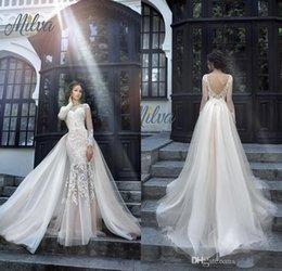 fe7392dbc Milva Bridal Wedding Dresses 2019 Sexy Wedding Dresses with Detachable  Train Sheer Long Sleeves Low Back Lace Mermaid Bridal Gowns