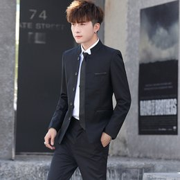 Wholesale chinese tunic wedding resale online - 2020 Creativity Money Men s Chinese Tunic Suit Suit Dress Male Slim Fit Men Wedding