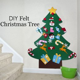 Discount puzzle toys sticks - DIY Felt Christmas Tree Ornaments Puzzle Toys Kids Gifts Stick Door Wall Hanging Xmas Decor Flannel Storyboard Giant