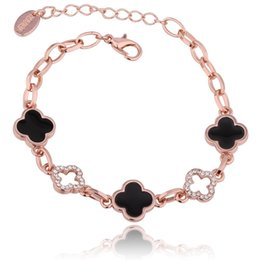 China Four-leaf Clover Charm Bracelets Crystal 18K Rose Gold Rhinestone Four Leaf Clover Bracelet Classic Bangles Female Women Jewelry Party Gift suppliers