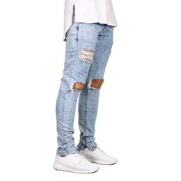 jean zippers NZ - Men Jeans Stretch Destroyed Ripped Design Fashion Ankle Zipper Skinny Jeans For Men E5020