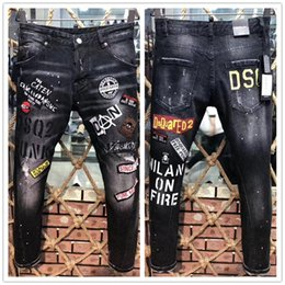 770938bf Fashion Designer Mens Ripped Biker Jeans Leather Patchwork Slim Fit Black  Moto Denim Joggers For Male Distressed Jeans Pants