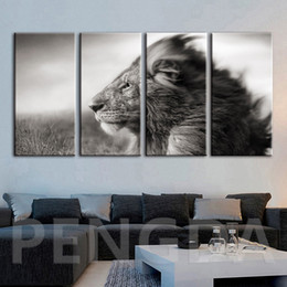 Black white framed posters online shopping - HD Printed Canvas Painting Home Decor Wall Art Black and White Lion Animal Modular Pictures Modern Poster For Living Room Framed
