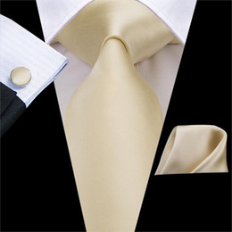 solid gold cufflinks NZ - C-3266 High Quality 100% Silk Ties for Men Soft Silk Solid Ivory champagne NeckTie Hanky Cufflinks Set Classic Men's Ties