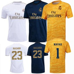 blue real madrid s soccer jersey NZ - Real Madrid Soccer Jerseys 2019 2020 COURTOIS HAZARD KROOS BENZEMA MODRIC JAMES 19 20 away 3rd goalkeeper men women Football Shirt S-2XL