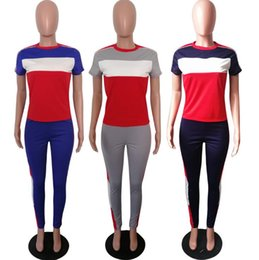 Elastic top pants online shopping - Letter Printed Tracksuit Summer Women T shirt Pants Set Short Sleeve Tracksuit Patchwork Outdoor Tops Outfit OOA6561