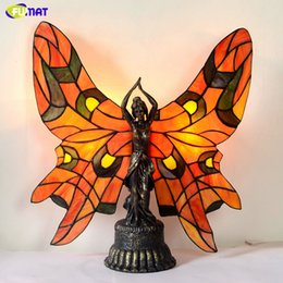$enCountryForm.capitalKeyWord Australia - FUMAT Stained Glass Lamp European Style Table Lamp Bedside Lamp Retro LED Luxury Warm Butterfly Beauty Living Room Stand Lights