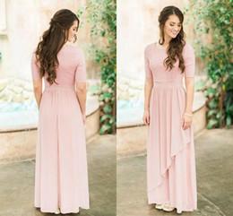 dc6ada52c6e Dusty Rose Bridesmaid Dresses Long Australia - Rose Dusty Lace Chiffon Long  Modest Bridesmaid Dresses 2019