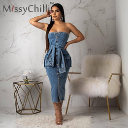 club jeans for women NZ - MissyChilli Off shoulder bodycon blue jeans dress Women PLUS SIZE autumn elegant dress for Female party night club denim dresses T200321