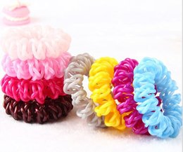 high ropes UK - 4.5cm High Quality Telephone Wire Cord Hair Tie Girls Elastic Braid Hair Band Ring Rope Bracelet Stretchy Scrunchy