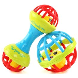 Wholesale 0 T Baby Rattles Toy Plastic Hand Bell Baby Teether Toy Food Grade Teething Rattle