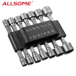 screw set inch Australia - ALLSOME 14pcs 1 4 Inch Hex Shank Power Nut Driver Drill Bit Set SAE Metric Socket Wrench Screw Screwdriver HT2650+