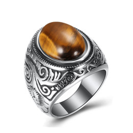 stainless steel ring blue stone Canada - Vintage Titanium Steel ring Oval Blue White Turquoise Tiger Eye Stone Fashion Rings Exaggerated Personalized Jewelry Mens Ring luxury