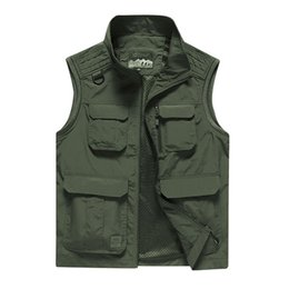 $enCountryForm.capitalKeyWord Australia - Summer Mesh Thin Multi Pocket Vest For Male Big Size Male Casual 3 Colors Sleeveless Jacket With Many Pockets Reporter Waistcoat