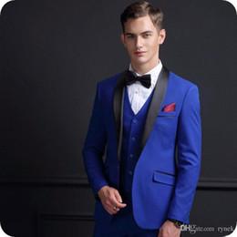 $enCountryForm.capitalKeyWord Australia - Custom Made Royal Blue Men Suits Wedding Groom Tuxedos 3Piece Black Shawl Lapel Slim Fit Groomsmen Blazer Man Jacket Vintage Costume Homme