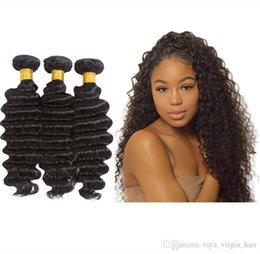 VIYA 9A Peruvian Virgin Human Hair Deep Wave 3 Bundles Cuticle Aligned Hair Soft And Smooth Can Be Colored