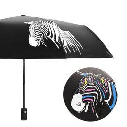 Black Coating Australia - Umbrellas UPF 50+ Water Discoloration Impact Black Coating Cloth Waterproof and Sun Resistance Three Hold Umbrella