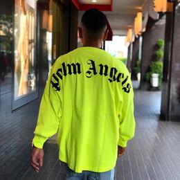 Vente en gros 19AW Palm Angels Oversize Tee Lettre Imprimer Grand Logo À Manches Longues De Mode Coton Crewneck Femmes Hommes Designer Shirt HFKYTX007