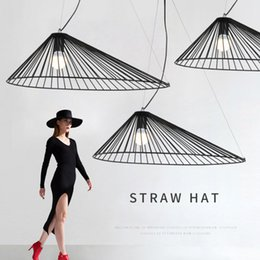 masters hats 2019 - Modern minimalist straw hat hollow design chandeliers E27 pendant lamps Nordic creative black ironlighting home decorati