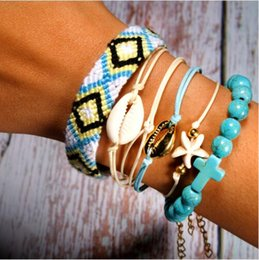 wholesale fashion friendship bracelets 2019 - 6 Pieces Puka Shell Bracelet Set Cross Beads Weave Boho Fashion Girl Friendship Charm Bracelet Summer Jewelry Dropship d