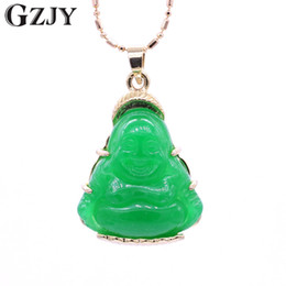 $enCountryForm.capitalKeyWord NZ - GZJY Fashion Smile Face Buddha Necklace Pendant Green Stone Champagne Gold Color Pendant For Women Jewelry Good Lucky Gift