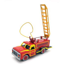 $enCountryForm.capitalKeyWord Australia - [Funny] Adult Collection Retro Wind up toy Metal Tin fire truck scaling ladder car pendant Clockwork toy model vintage toy gift