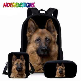 german books NZ - NOISYDESIGNS Animal Dog Children Book Bag German Shepherd Prints School Bag Set for Teenager Boys Kids Schoolbag with Pencil