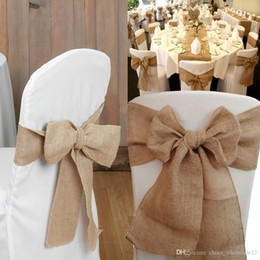 "$enCountryForm.capitalKeyWord Australia - 7""x 108"" Vintage Country Jute Hessian Burlap Chair Bow sashes Rustic Wedding Party Venue Decoration 17*275cm"