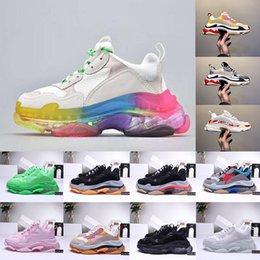 army green casual shoes 2020 - Luxury Clear Sole Triple S Leisure Shoe Platform Track Sneakers For Men Women Clunky Vintage Old Dad Shoes Black White G