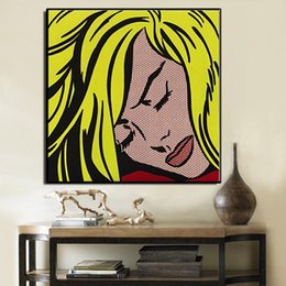 Life Size Figures Australia - Roy Lichtenstein Sleeping High Quality Hand Painted & HD Print Portrait Wall Art Oil Painting On Canvas Home Decor Multi sizes Ry09