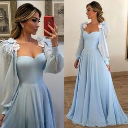 Like Jacket Canada - 2019 modern womens evening dresses with long sleeve jacket sweetheart neck a line sweep train sky blue chiffon party dress evening china