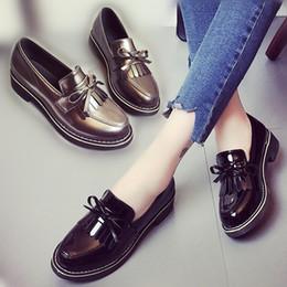 $enCountryForm.capitalKeyWord Australia - Hot Sale-2017 Patent leather Casual Bow Muffin bottom women shoes slip on black Vintage oxford shoes women sapato feminino