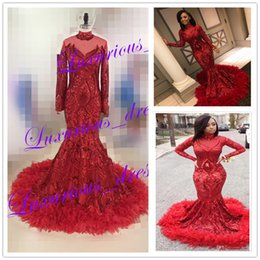 Feather Cap Sleeves Australia - Stock Fast Shipping Sparkly Long Sleeve Sequin Prom Dresses 2019 Sexy High Neck African Red Feather Evening Dresses pageant Party Gowns