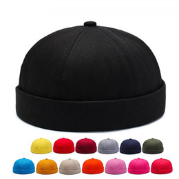 New Solid Color Landlord Hat Old Man Retro Brand Designer Hat Youth Fashion Cap Hip Hop Street Melon Leather Cap on Sale