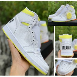 sneakers bar 2019 - Newest 1s First Class Flight code 555088-170 men basketball shoes 1s Bar Code Lemon Yellow sneaker top quality free ship