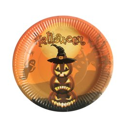 Halloween Party Plates Australia - 10pcs set Paper Party Halloween RFID Blocking Tableware Witch Plates Pumpkin Cartoon Disposable Dishes Table Decoration