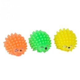 Wholesale Hedgehog Toys Australia - Wholesale Cute Puppy Dog Squeaky Chew Toys Hedgehog Shape Pet Dog Puppy Squeaker Ball Funny Toys