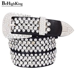 Fashion genuine leather luxury shining rhinestone belts for women Soft wear classic diamond belt female Quality strap width 3.3 Y191218 on Sale